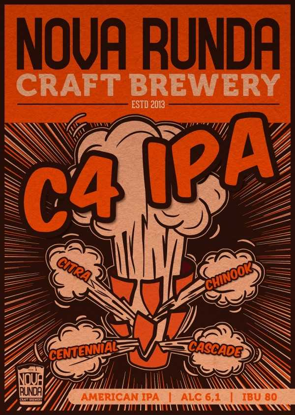 If you want to feel the full #ExperienceHop experience through the dominance of American hops, then the C4 is the ideal choice - a hop tropical bomb!C4 India Pale Ale 0,5l Nova Runda Adria Klik WebShop Croatia Craft Beers Delivery