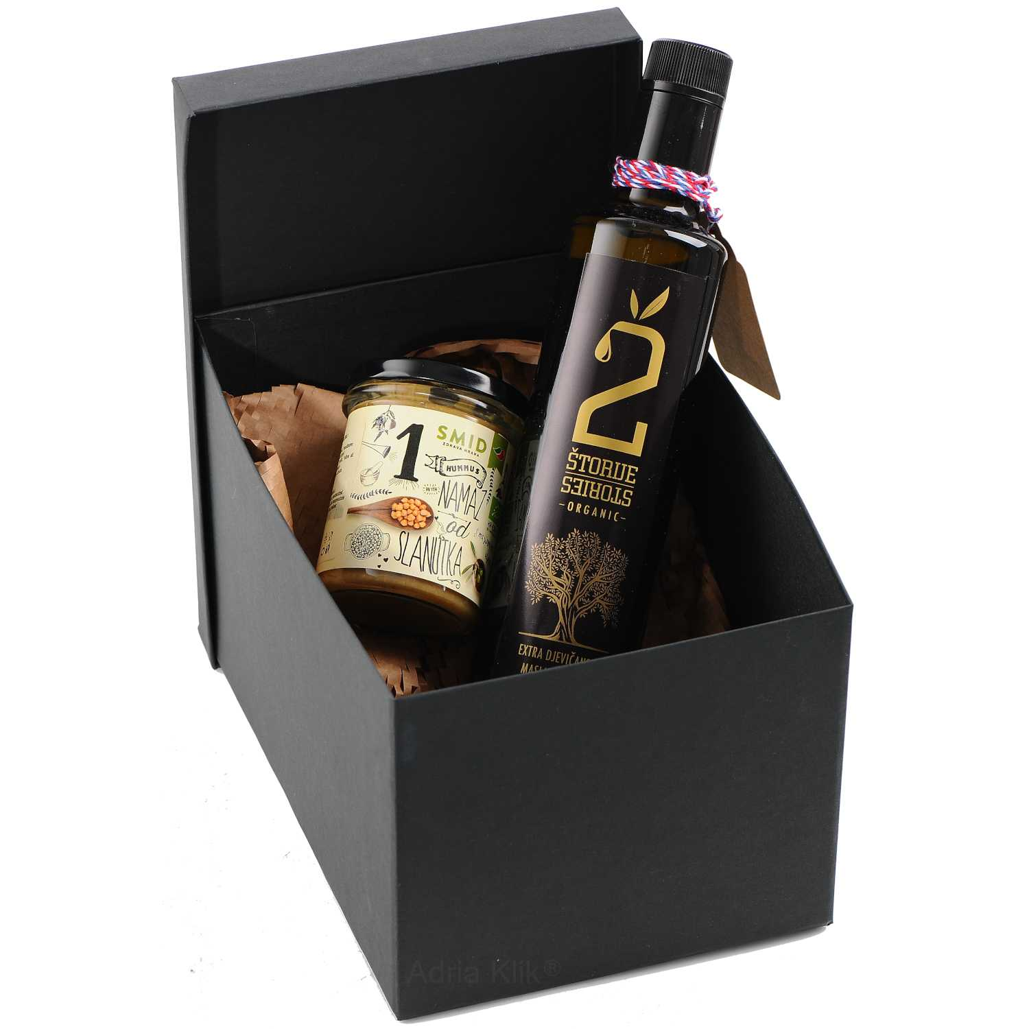 Organic Eko Extra Virgin Olive Oil 0,5l 2Štorije Eko Namaz od Slanutka Hummus Bio 210g. SMID Black gift box with top  Decoration
