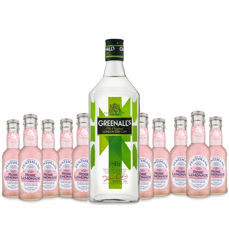 Gin-Tonic Paket Original British Gin Greenalls 0,7l Rose Lemonade Tonic 0,2l Fentimans 12 komada Adria-Klik Superbrza dostava Zagreb i HR