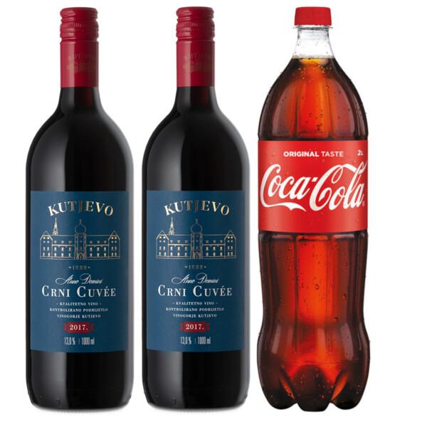 Kutjevo Crni Cuvee 1L X2 + Coca-Cola 2l Akcija! Adria Klik Najbrža dostava Namirnica, Vina, Craft piva, Delicije, Poklon paketi, brza dostava